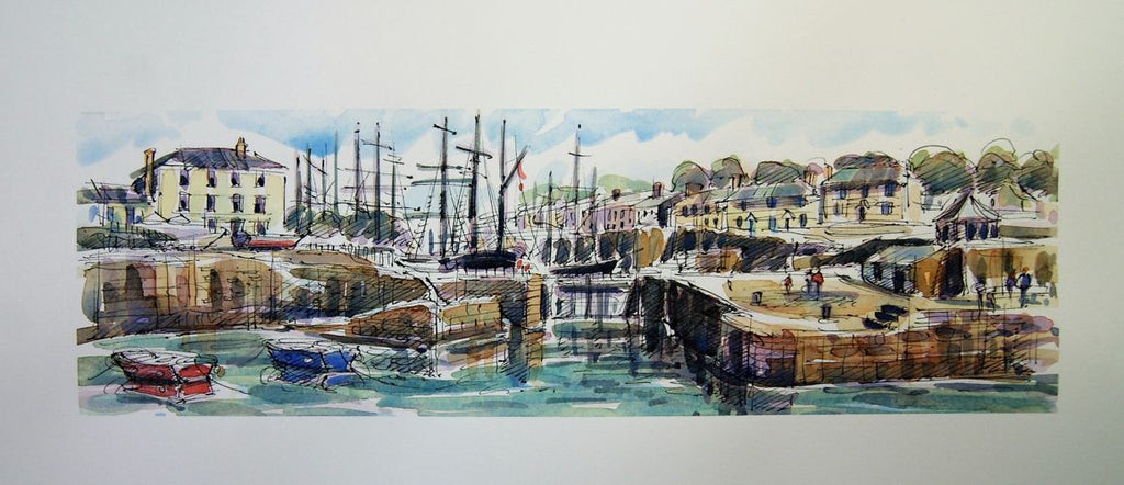 Richard Briggs, Tall Masts At Charlestown Harbour, print