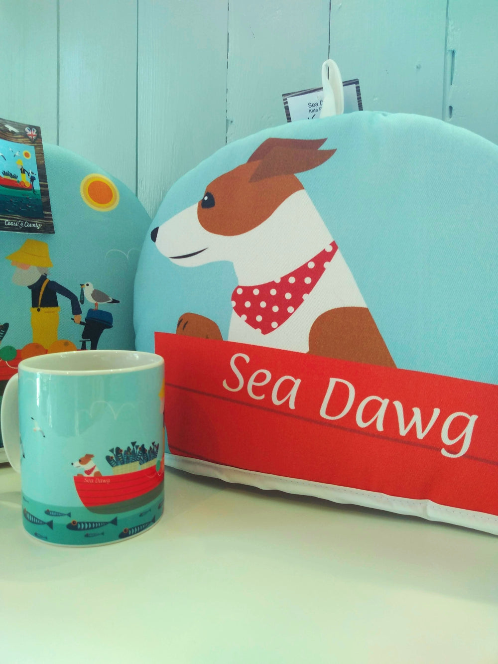 Sea Dawg tea cosy by Kate Pearson