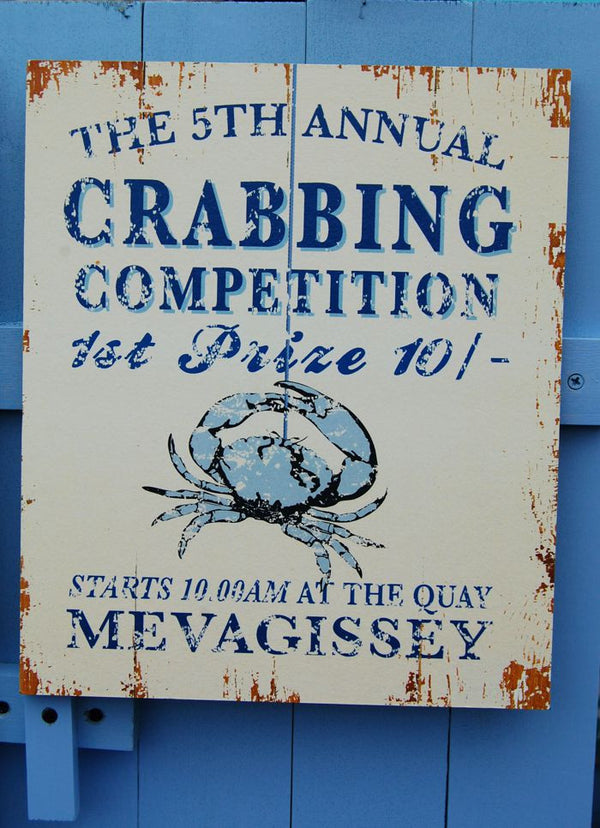 Crabbing Competition Mevagissey sign