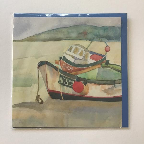 Boats At St. Ives card by Emma Ball