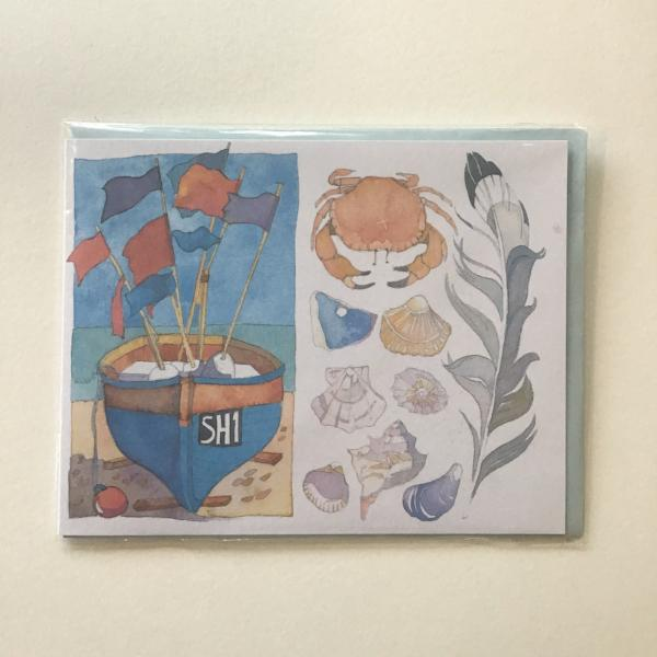 Beachcombing card by Emma Ball