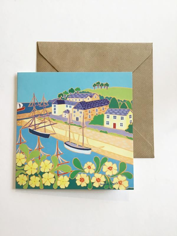 Tall Ships and Primroses, Charlestown Card by Joanne Short