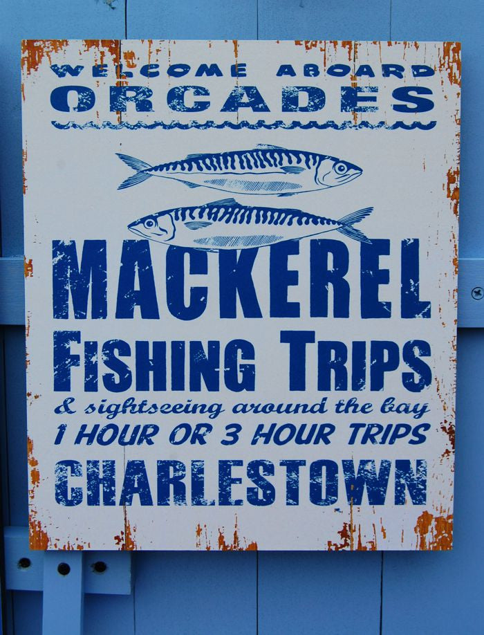 Mackerel Fishing Trips Charlestown Sign
