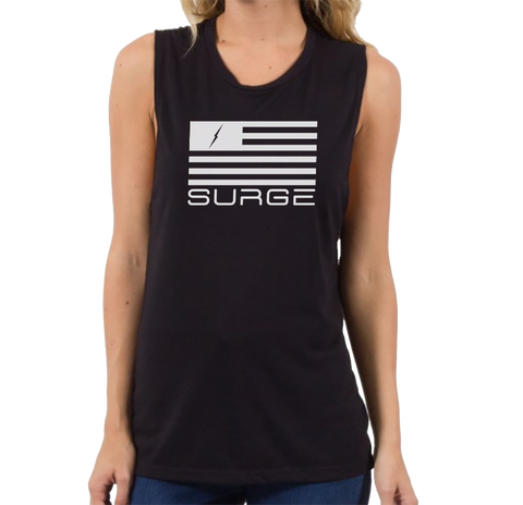 Classic Flag Muscle Tank Black Womens