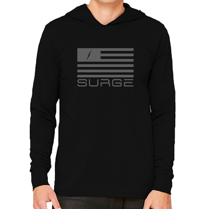 Classic Flag - Long Sleeve Unisex Hoodie - Black/Grey