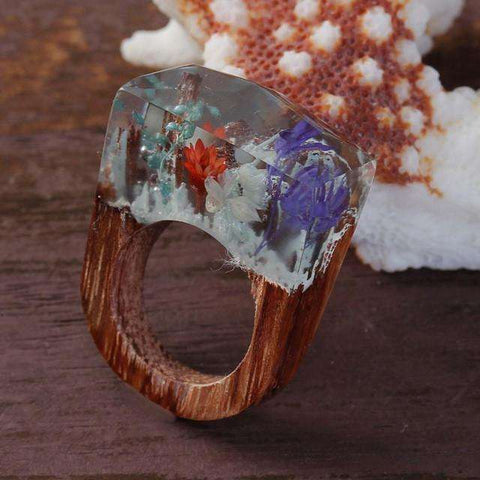 sellingpanda Great for Gifts 6.5 / Multicolor Ethernal Blossom Wood Ring