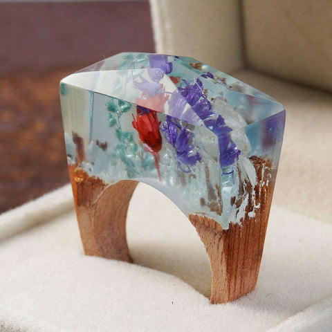 sellingpanda Great for Gifts Ethernal Blossom Wood Ring