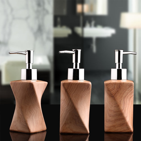 Shampoo Pump Spray Home Ceramics Portable Wood Grain Liquid Soap Dispenser Shower Gel Bottle Kitchen Hotel Soap Dispenser