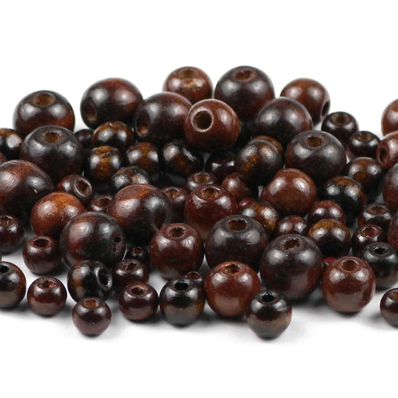 YHBZRET 500pcs Brown Natural Wooden Beads 5/6/8/10/12MM Eco-Friendly wood Round Loose beads for Jewelry makeing bracelet DIY