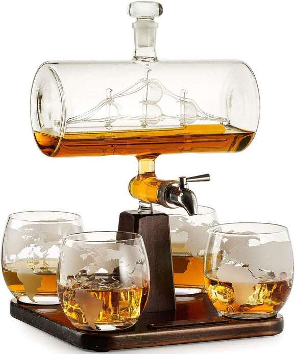 5pcs Set Creative Antique Boat Shape Decanter Red Wine Whiskey Glass Decanter 1 Bracket 1 Decanter 4 Cup Combination Set