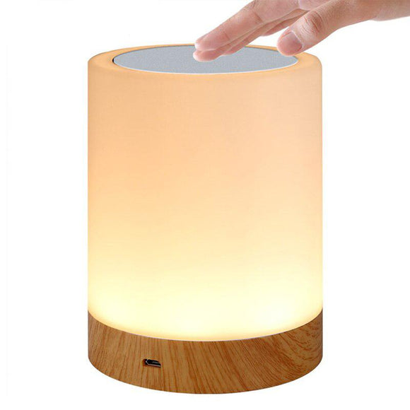 Studyset USB Charging LED Dimmable Colorful Night Lamp Wood Grain Bed Light Home Office Decoration Gift