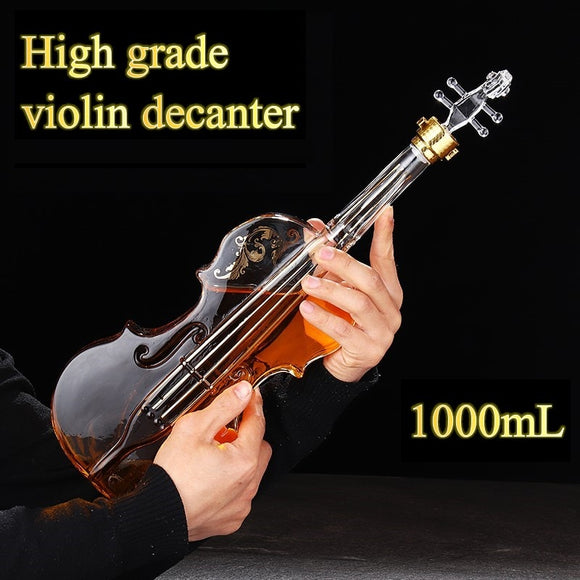 Blown Glass Wine Decanter for Whiskey High-grade Creative Vodka Bottle Violin Decorative Wine Set 1000ML