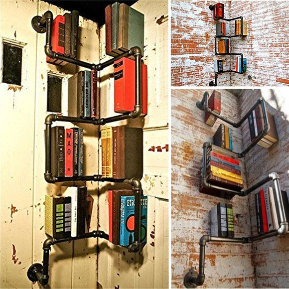 Industrial Urban Style Pipe Shelf Storage Shelving Book Wall Mount DIY Holder