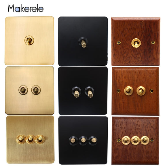 10A Retro Stainless Steel Wood Brass Toggle Switch 1/2/3 Gang Wall Lamp Switch 86 Type Dual Control Light Switch