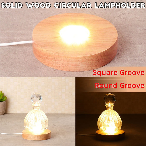 Wood Color Base White/Warm Light Rechargeable Remote Control Wooden LED Light Rotating Display Stand Lamp Holder Lamp Base