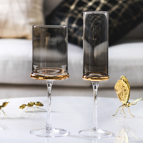Scandinavian wine glasses plating Gray/transparent Champagne Cup goblet whiskey glasses Water Cup kitchen hotel drink glasses