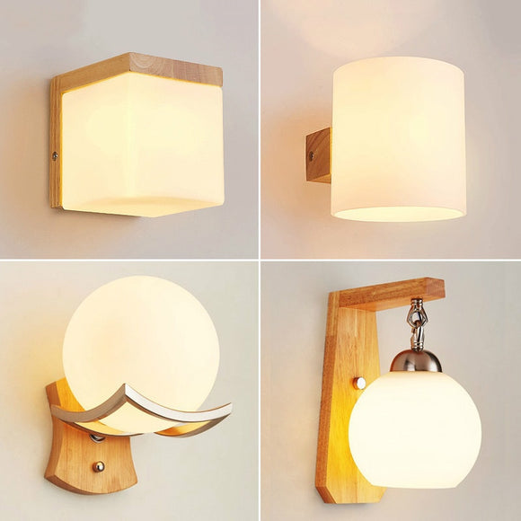 Japanese Decoration Wall Wood Lamp Glass Lampshade Bedroom Entrance Aisle Indoor Home Lights E27 LED Nordic Bedside Wall Light