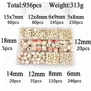956pcs/Set Unfinished Wooden Round Octagon oval Beads Natural Wood Teething Bead Jewelry Making Handmade For DIY Jewelry