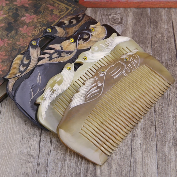 New Luxury Natural Horn Hair Comb Handcraft With Mandarin Duck Carvings Handle