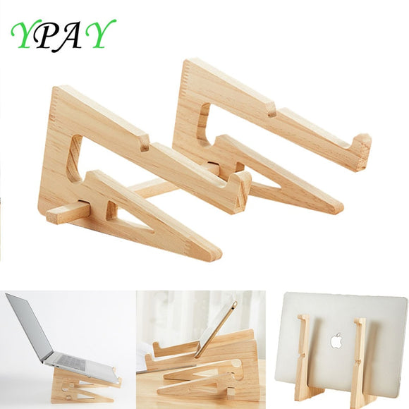 YPAY Wood Laptop Stand Holder Increased Height Storage stand for Macbook 13 15 Inch Notebook Vertical Base Cooling Stand Mount