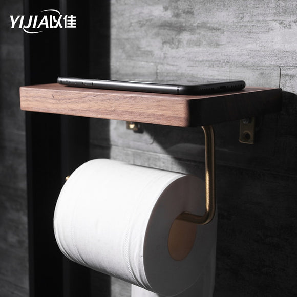 Bathroom Shelves Brass Walnut Toilet Paper Holder Bathroom Hotel Roll Paper Tissue Hanging Rack Wooden Shelf Holder