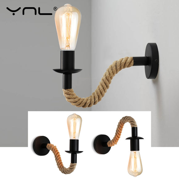 Retro Hemp Rope Industrial Loft Wall Lamp Vintage Decor Wall Light Fixtures For Living Room Indoor Sconces Lighting Decorative