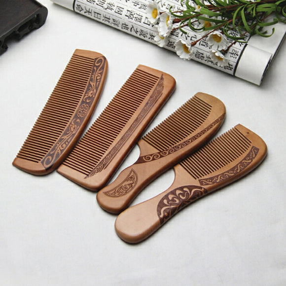 1pcs Anti-Static Comb Natural Peach Solid Wood Comb Engraved Peach Wood Healthy Massage Hair Care Tool Beauty Accessories