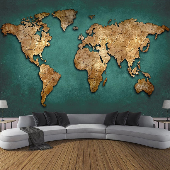 Custom Mural Retro Nostalgic 3D Stereoscopic Embossed World Map Photo Wall Fresco Bedroom Study Room Restaurant Decor Wallpaper