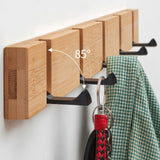Wall-mounted Clothes Hook Natural Bamboo Aluminum Coat Hanger Home Key Bag Storage Shelf