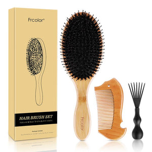 Massage Comb Hair Brush Anti-Static Natural Bamboo Scalp Brush Massage Comb Straightening Boar Bristle Hair Styling Accessories