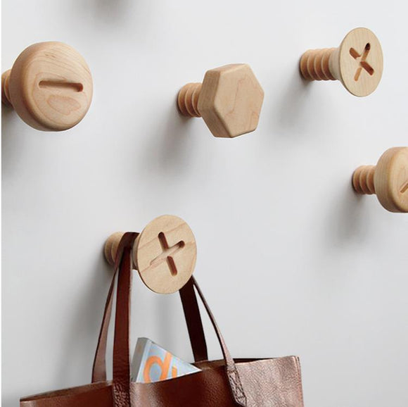 LCH  Nordic Style Wood Hooks Screw Shape Natural Beech Wood Black Walnut Wood Clothes Coat Hooks  Key Holder Wall Key Hanger