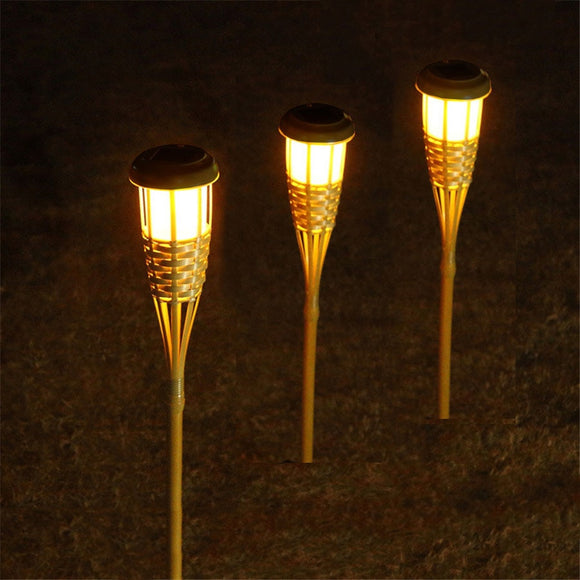 Thrisdar Outdoor Garden Solar Bamboo Torch Lights Landscape Pathway Solar Tiki Torch Light Solar Lawn Spike Spotlight