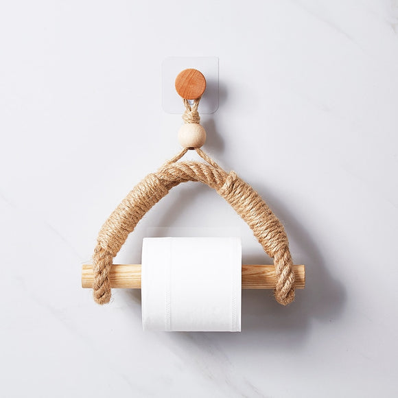 Natural wood paper rack hanging wall hook retro hanging rope toilet paper rack home hotel bathroom decoration paper holder