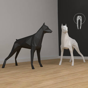 3D solid Great Dane Dog Animal Card Paper Wall Art Sculpture Model Home Decor Room Decor DIY Paper Hand Made Model Party Gift