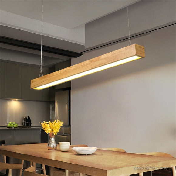 Nordic Wooden Pendant Lights Modern Led  Kitchen Office Hanging Lights Solid Wood Home Decor Dining Room Dining Table Lights