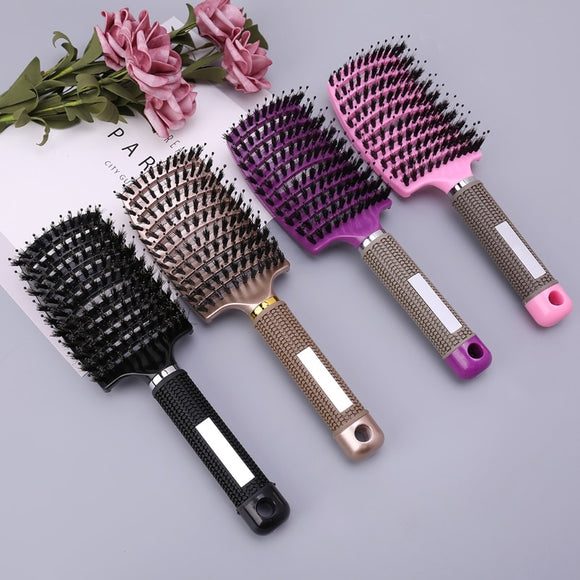 Salon Professional  Bristle & Nylon Hairbrush Scalp Massage Comb Wet Hair Brush