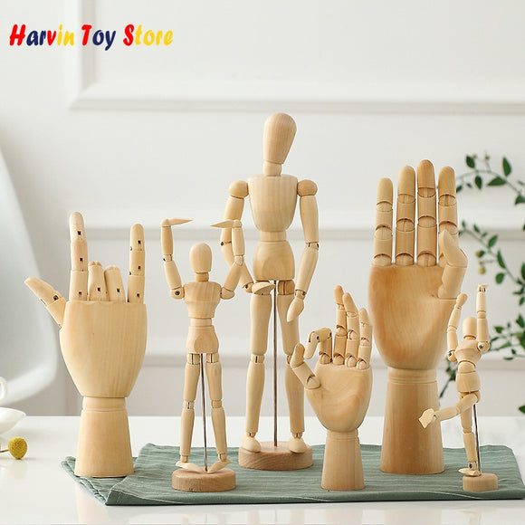 Joint Wood Dolls Decorative Art Model Man Artist Figures Hands Photo Props Wooden Jointed Doll Desktop Ornaments Creative Gifts
