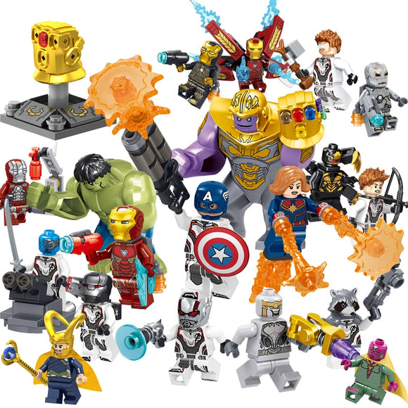16pcs/8pcs set Super Heroes Marvel's Avenger Military Action Figures  Blocks Toys Deadpool Spider-man Hulked Batman Christmas
