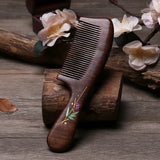 1Pcs Natural Sandalwood Comb Anti-static Hair Comb Handle Massage Combs Travel Hair Care Tools For Women Gift Hair Styling Tools