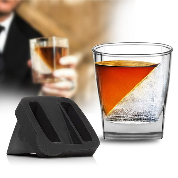Square Iceberg Whiskey Glass With Silica Gel Ice Mold Pattern Iced Cake Mould Film Verre Whisky Steining Wine Cup XO Vodka Glass