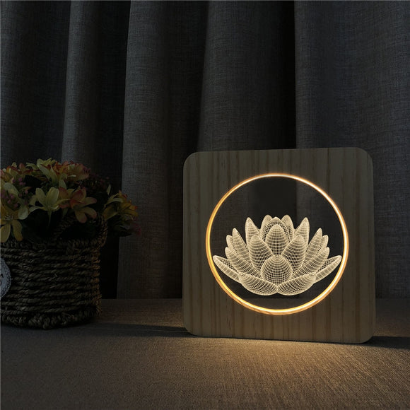Lotus Design 3D LED Arylic Wooden Night Lamp Table Light Switch Control Carving Lamp for Friends Fan's Gift Dropshipping