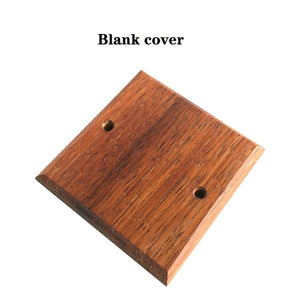 High Quality 86 Type Solid Wood Panel Wall Light Retro Brass Toggle Switch Wood Grain Electrical Switch Socket