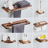 Bathroom Accessories Corner Shelf Toilet Brush Holder Towel Rack Paper Holder Tooth Brush Holder  Wood & Copper Bath Hardware