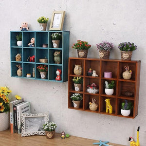 12-Grid Wooden Wall Shelf Organizer Rack Book Collection Photo Display Shelf