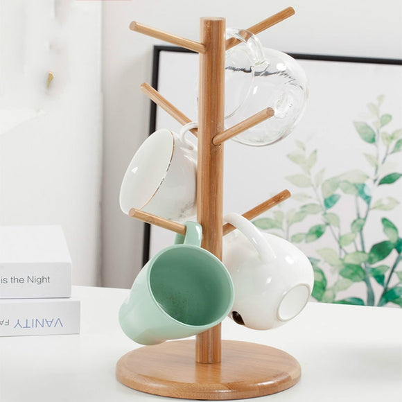 Wooden Coffee Cup Holder Beech 6 Cup Mug Holder Countertop Pantry Stands Mug Tree Shape Rack Storage Holder Stand Home Kitchen
