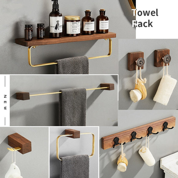 Solid Wood Clothes Hanger Storage Rack Wall Hanging Towel Paper Holder Black walnut Corner Shelf Bathroom Accessories