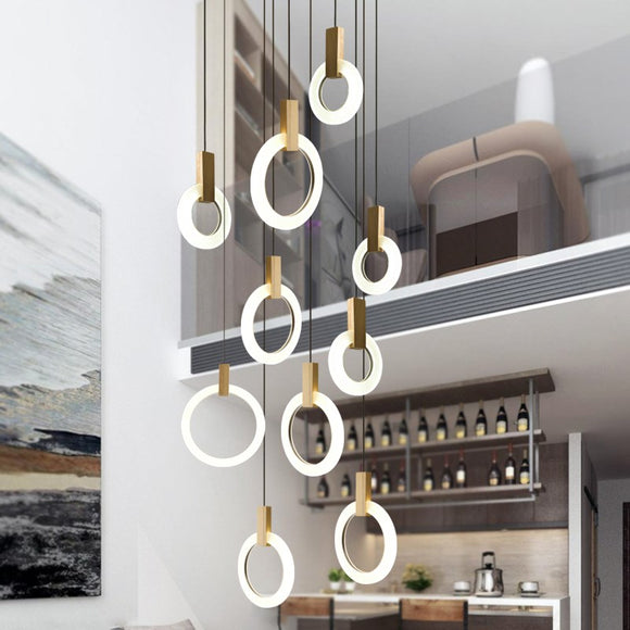 Modern Circle Acrylic Led Pendant Lamp Villa Stair Hotel Dining Room Hanging Lighting Fixture Lustre Wood Pendant Drop Light Led