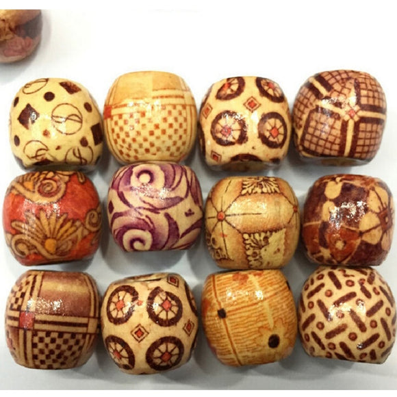 100PC Mix Wooden Bead Tribal Patterned Wood Beads Macrame For DIY Jewelry Making