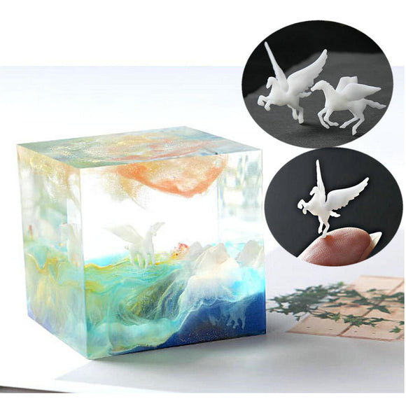 Mini 3D Unicorn Horse Stuff Epoxy Resin Jewelry Pendant DIY Craft Miniature Fillings