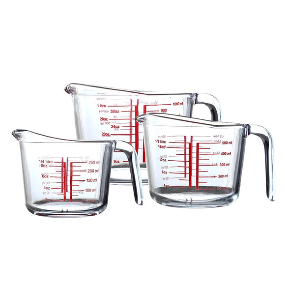 250ml 500ml 1000ml Tempered Transparent Glass Measuring Cup With Graduated Measuring Cup Graduated Cup Water cup Kitchen Baking